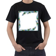 Beautiful Frame Made Up Of Blue Peacock Feathers Men s T Shirt (black) (two Sided)