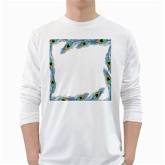 Beautiful Frame Made Up Of Blue Peacock Feathers White Long Sleeve T Shirts