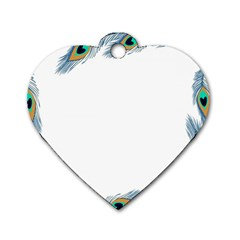 Beautiful Frame Made Up Of Blue Peacock Feathers Dog Tag Heart (one Side)