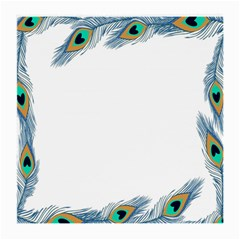 Beautiful Frame Made Up Of Blue Peacock Feathers Medium Glasses Cloth (2 Side)