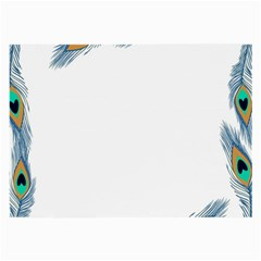 Beautiful Frame Made Up Of Blue Peacock Feathers Large Glasses Cloth (2 Side)
