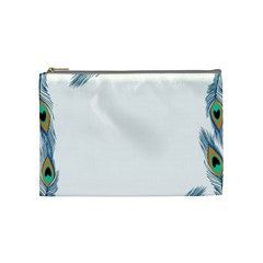 Beautiful Frame Made Up Of Blue Peacock Feathers Cosmetic Bag (medium)