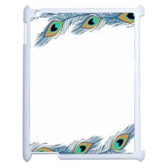 Beautiful Frame Made Up Of Blue Peacock Feathers Apple Ipad 2 Case (white)
