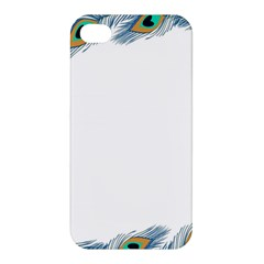 Beautiful Frame Made Up Of Blue Peacock Feathers Apple Iphone 4/4s Hardshell Case