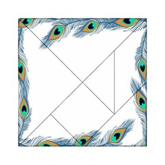 Beautiful Frame Made Up Of Blue Peacock Feathers Acrylic Tangram Puzzle (6  X 6 )