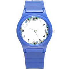 Beautiful Frame Made Up Of Blue Peacock Feathers Round Plastic Sport Watch (s)