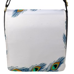 Beautiful Frame Made Up Of Blue Peacock Feathers Flap Messenger Bag (s)