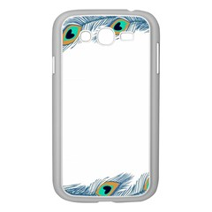 Beautiful Frame Made Up Of Blue Peacock Feathers Samsung Galaxy Grand Duos I9082 Case (white)