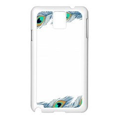 Beautiful Frame Made Up Of Blue Peacock Feathers Samsung Galaxy Note 3 N9005 Case (white)