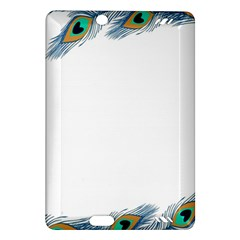Beautiful Frame Made Up Of Blue Peacock Feathers Amazon Kindle Fire Hd (2013) Hardshell Case