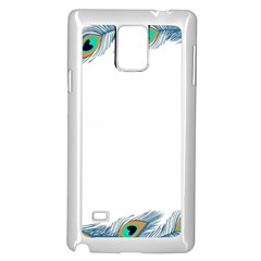 Beautiful Frame Made Up Of Blue Peacock Feathers Samsung Galaxy Note 4 Case (white)