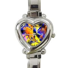 Fractal Art Pattern Cool Heart Italian Charm Watch