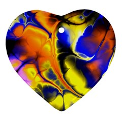 Fractal Art Pattern Cool Heart Ornament (two Sides)
