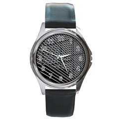 Abstract Architecture Pattern Round Metal Watch