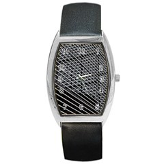 Abstract Architecture Pattern Barrel Style Metal Watch