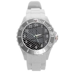Abstract Architecture Pattern Round Plastic Sport Watch (l)