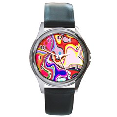 Colourful Abstract Background Design Round Metal Watch