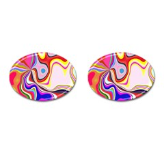 Colourful Abstract Background Design Cufflinks (oval)