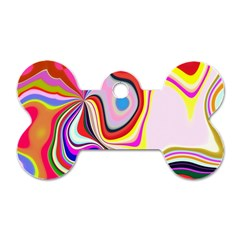 Colourful Abstract Background Design Dog Tag Bone (one Side)