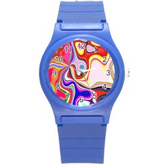 Colourful Abstract Background Design Round Plastic Sport Watch (s)