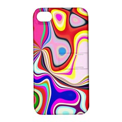 Colourful Abstract Background Design Apple Iphone 4/4s Hardshell Case With Stand