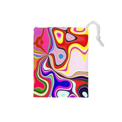 Colourful Abstract Background Design Drawstring Pouches (small)