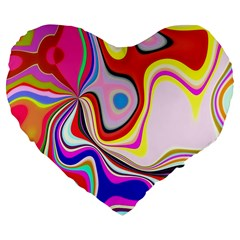 Colourful Abstract Background Design Large 19  Premium Flano Heart Shape Cushions