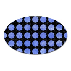 Circles1 Black Marble & Blue Watercolor Magnet (oval)