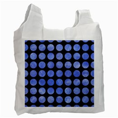 Circles1 Black Marble & Blue Watercolor Recycle Bag (two Side)
