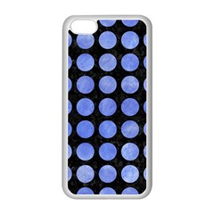 Circles1 Black Marble & Blue Watercolor Apple Iphone 5c Seamless Case (white)