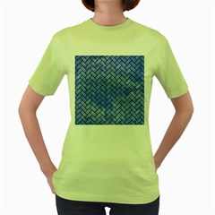 Brick2 Black Marble & Blue Watercolor (r) Women s Green T Shirt