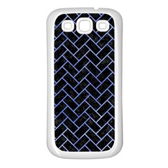Brick2 Black Marble & Blue Watercolor Samsung Galaxy S3 Back Case (white)