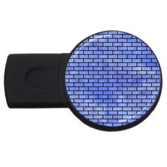 Brick1 Black Marble & Blue Watercolor (r) Usb Flash Drive Round (4 Gb)