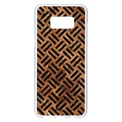 Woven2 Black Marble & Brown Stone (r) Samsung Galaxy S8 Plus White Seamless Case
