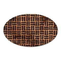 Woven1 Black Marble & Brown Stone (r) Magnet (oval)