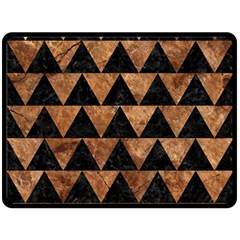 Triangle2 Black Marble & Brown Stone Double Sided Fleece Blanket (large)