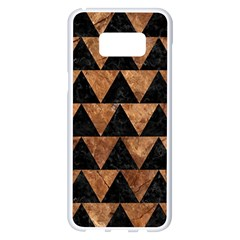 Triangle2 Black Marble & Brown Stone Samsung Galaxy S8 Plus White Seamless Case