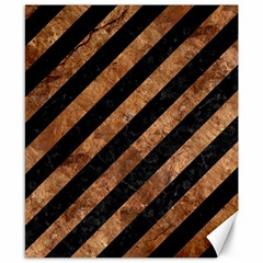 Stripes3 Black Marble & Brown Stone Canvas 8  X 10