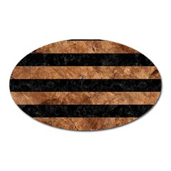 Stripes2 Black Marble & Brown Stone Magnet (oval)