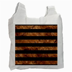 Stripes2 Black Marble & Brown Stone Recycle Bag (one Side)