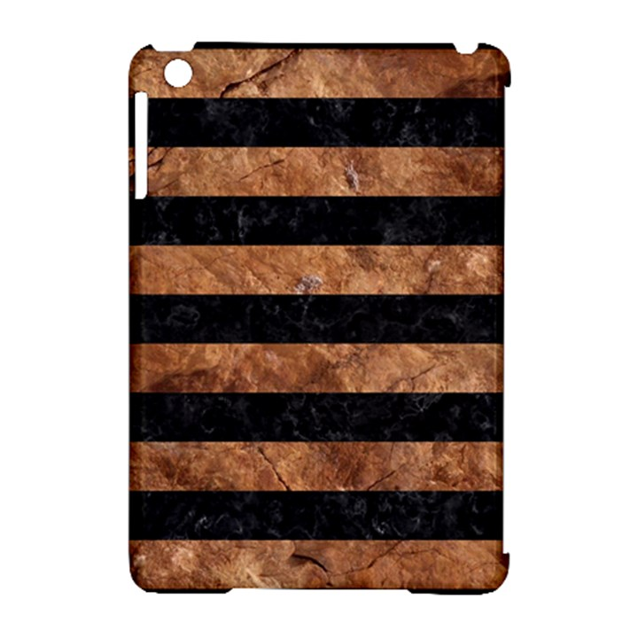 STRIPES2 BLACK MARBLE & BROWN STONE Apple iPad Mini Hardshell Case (Compatible with Smart Cover)