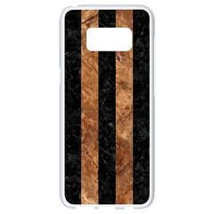 Stripes1 Black Marble & Brown Stone Samsung Galaxy S8 White Seamless Case
