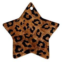 Skin5 Black Marble & Brown Stone Star Ornament (two Sides)