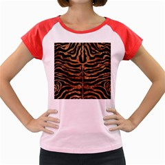 Skin2 Black Marble & Brown Stone Women s Cap Sleeve T Shirt