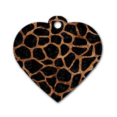 Skin1 Black Marble & Brown Stone (r) Dog Tag Heart (one Side)