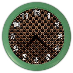 Scales2 Black Marble & Brown Stone Color Wall Clock