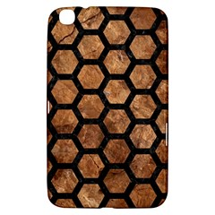 Hexagon2 Black Marble & Brown Stone (r) Samsung Galaxy Tab 3 (8 ) T3100 Hardshell Case