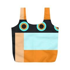 Orange, Aqua, Black Spots And Stripes Full Print Recycle Bags (m)
