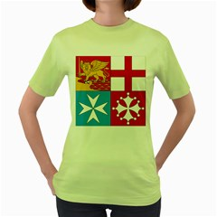 Naval Jack Of Italian Navy  Women s Green T Shirt