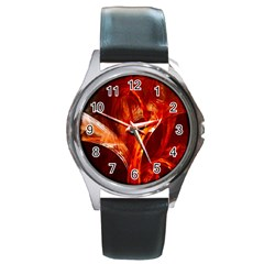 Red Abstract Pattern Texture Round Metal Watch